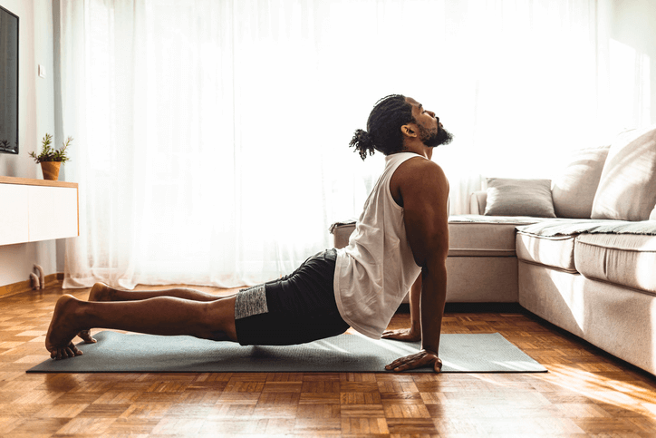 man in yoga back extension